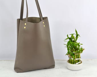 SIMPLE TOTE Bag, Everyday Leather Tote, Leather Laptop Bag, Gray Leather Tote, Italian Leather Tote - MADRID -