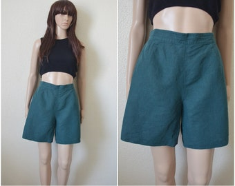 Green linen shorts high waisted shorts minimalist womens cotton mix Vintage 90s 28 inch waist UK 10 S Small