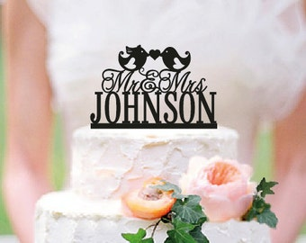 Love Birds Wedding Cake Topper, Personalized Wedding Cake Topper With Your Last Name and date ,Mr and Mrs,Custom wedding cake topper / ST011