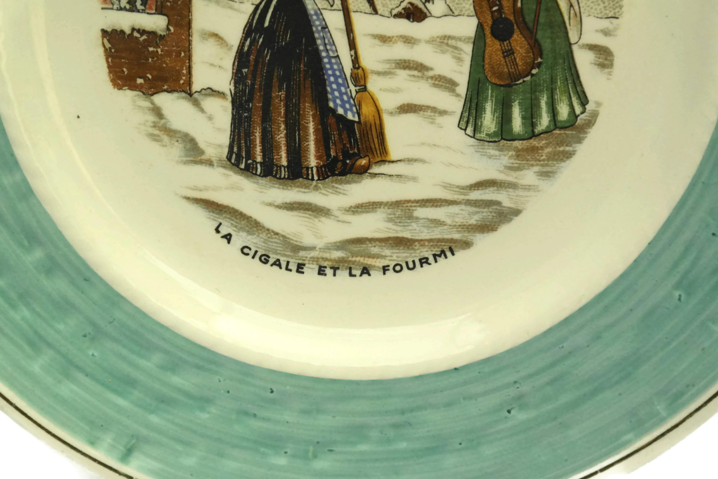 Vintage French Faience Wall Plate. The Cigale and The Ant La ...