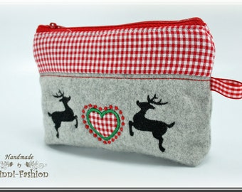 Make-up bag, pouche with a heart-deer application, Oktoberfest, gey, bavarian style