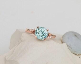 Natural Zircon in 14k Rose Gold Diamond Ring