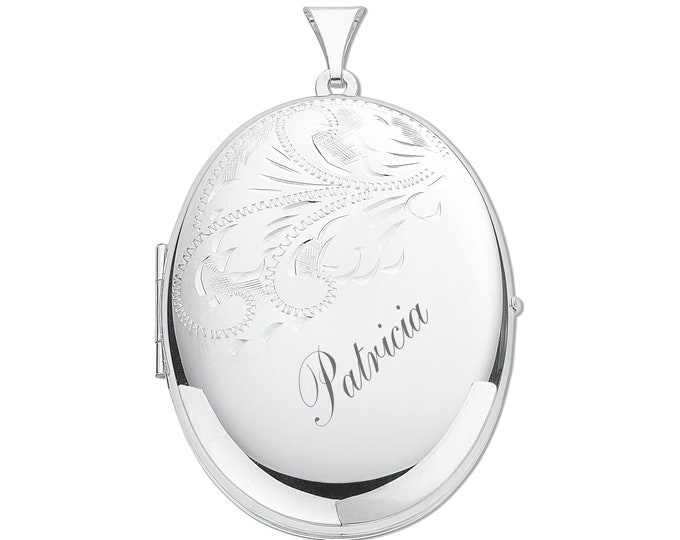 Large Sterling Silver Half Engraved  2 Photo Oval Locket-Personalised Name & Message