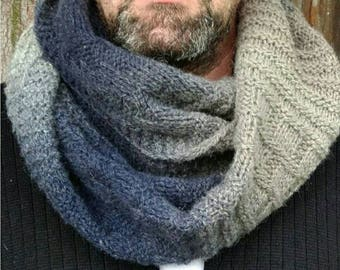 Oversize mens scarf, Outdoors-gift, Infinity mens scarf, Wool chunky snood, Wool hooded scarf,  Neckwarmer for men, Mens scarf wool ombre