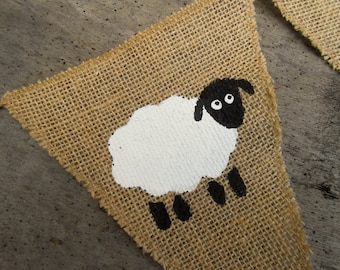Lamb Banner Sheep Banner Sheep Nursery Banner Easter Banner Lamb Bunting Baby Shower Banner Sheep Decor Lamb Easter Decor Christening Banner