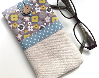 Glasses case - Spectacle case - Eyeglasses case - 'Blossom' Print - Fabric glasses pouch - Gift for mum