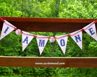 Baseball First Birthday Banner, Baseball I Am One Banner, First Birthday Banner, Baseball Party Decor, Sports Party Decorations, Pennant