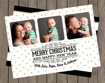 Merry Christmas Black & Gold Glitter Photo Card, DIY Christmas Card, Printable Christmas Card, Gold And Black Christmas Card, Glitter (5x7)