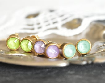 Round Swarovski crystals stud earrings, antique gold settings, spring pastel color lime green, lilac, mint green