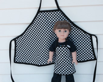 Matching Boy and Doll Aprons, Black and White Checked 18 Inch Doll and Boy Apron, Race Day Aprons for Doll and His Boy