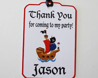 Pirates Thank You Party Favor Tags, Pirate Ship Personalized Birthday Party Favors Tags Thank You Gift Tags, Pirates Birthday Party