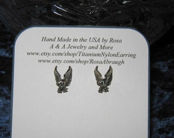 Sterling Silver Eagle Stud Earrings