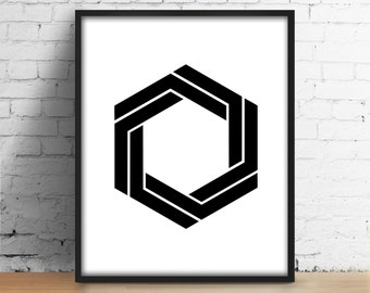 Hexagon Digital Print Geometric Abstract Art Scandinavian Modern Printable Wall Art