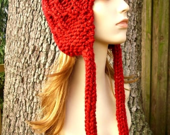 Red Womens Hat Red Hat - Amsterdam Cable Beanie Red Ear Flap Hat - Poinsettia Metallic Red Knit Hat - Womens Accessories Winter Hat
