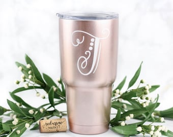Monogram SWIG 30 oz Stainless Steel Tumbler, Personalized Swig Cup, Bridesmaid Gift, Gifts under 50, Custom Tumbler w/ Lid, Rose Gold