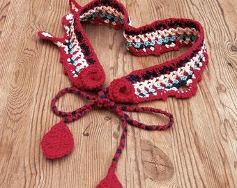 Colorful crochet fairy boho belt rustic headband roses bracelet bohemian clothing cottage chic wedding Frida Kahlo inspired