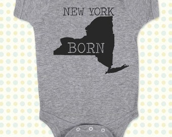 NEW YORK BORN map Baby One-Piece, Infant Tee, Toddler, Youth Shirts
