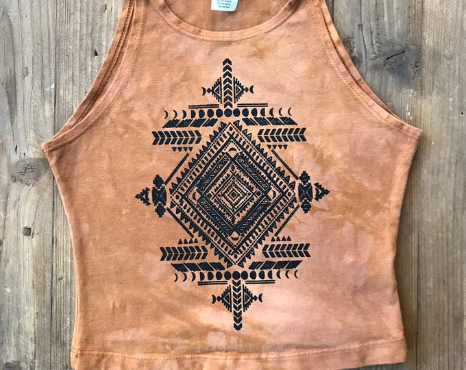 BLACK Tribal MOONS Fitted Crop Tank