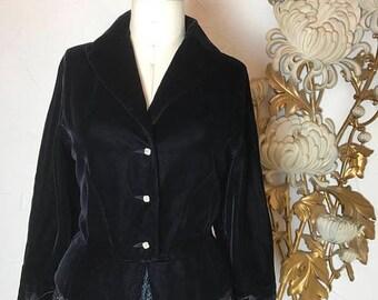 1940s jacket velvet jacket size medium black jacket dressy jacket vintage jacket evening jacket peplum jacket
