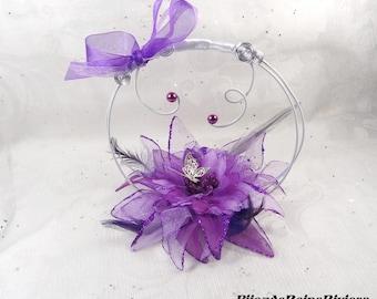 Ring bearer flower feathers - white purple dark purple wedding ring bearer - flower and Butterfly pillow ring bearer pillow