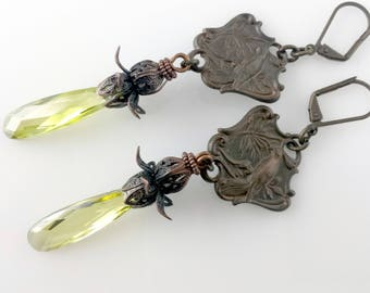 Unusual Faceted Citrine Crystal Drop Earrings with Baroque Bronze Tropical Bird Shield and Fancy Floral Bead Cap NE244