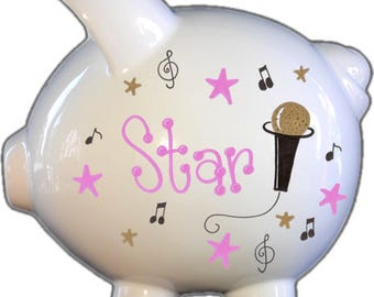 Personalized Piggy Bank with Rockstar | White | Large | Baby Gift | Free Shipping