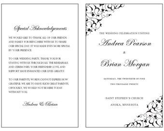 Wedding Program Template-Black Filigree – Instant Download - Editable MS Word File
