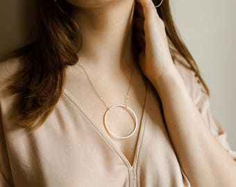 Ring Necklace - 14k gold filled large hoop necklace