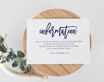 Navy Wedding Information Card Template Wedding Details Card  Template Details Card Printable Details Card Modern Calligraphy Details Card