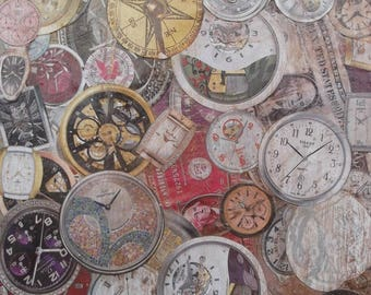 Painting with collage of images of watches