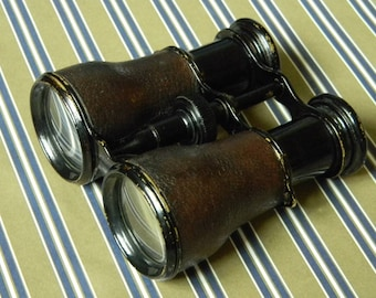 Fine Quality Adens Antique Binoculars - Brass and Leather Field Glasses - Beautiful and in Very Good Working Condition