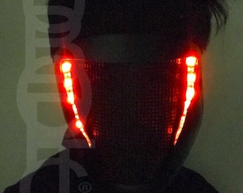 Cyborg BASS STG0 Fx Black Mask - Light Up Mask LED Sound Reactive mask for DJ gigs tron rave cosplay party costume robot mask