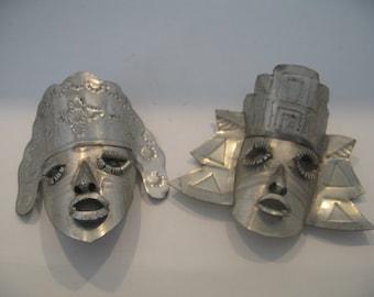 Vintage Hammered Metal Small Face Masks, Set of Two