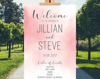 Pink Wedding Welcome Sign, Printable Welcome Order of Events Sign, Procession Printable, Wedding Poster, Watercolor Welcome Sign, Spring