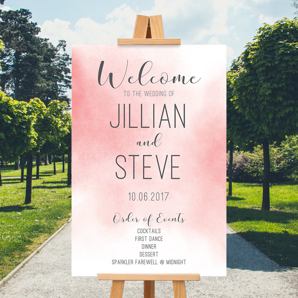 Pink Wedding Welcome Sign Printable Welcome Order of Events