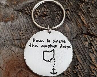 Long Distance Relationship Gift State Keychain Anchor Keychain Girlfriend Gift Boyfriend Gift Home Keychain Home State Keychain USA Keychain