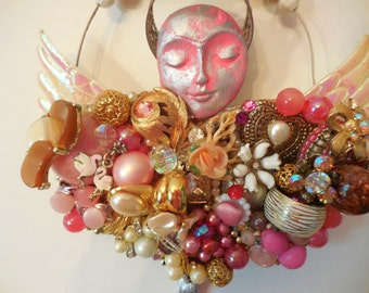 Junk Jewelry Collage, Costume Jewelry Art,  Pink Angel, Mixed Media Collage, Recycled Jewelry, Angel Wings Gift, Angel Sculpture, Pink Art
