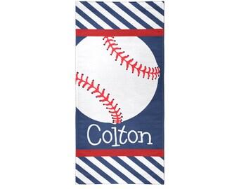 Baseball Personalized Beach Towel