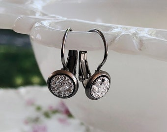 Silver Druzy Dangle Earrings, Dainty Sparkly Faux Druzys Set in Silver Tone Lever Back Settings, Gift for Flower Girl