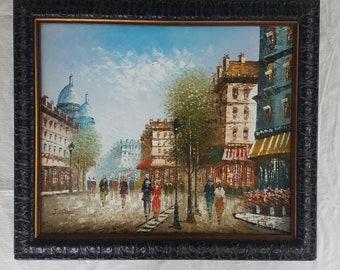 J. Bardot Impressionist Paris Street Scene Oil Painting