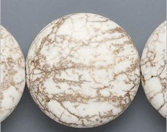 White Magnesite Puffed Flat Round Bead Focal Pendant 30mm 2 pieces