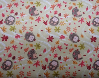 Autumn in Bluebell Wood, Hedgehogs and Blowing Leaves, Lewis & Irene, Woven Cotton Fabric, By the Half yard