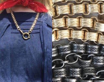 """Repro Victorian book chain collar necklace choker 16- 24"""" Antique Gold or Silver long short charm holder Victorian bookchain Necklace zz"""