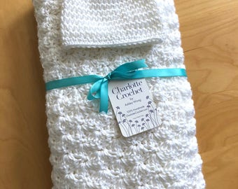 Crochet Baby Blanket with Matching Hat - White