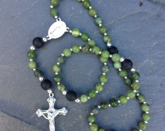 Irish Rosary beads, Connemara marble with Kilkenny marble, Gemstone ,Religious