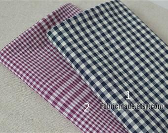 Yarn Dye Blue Purplish Red White Plaid Cotton Fabric, Classical Check Fabric - 1/2 Yard