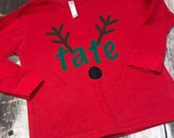 personalized christmas shirt, personalized reindeer shirt, toddler christmas shirt, infant body suit, coming home outfit, christmas pictures