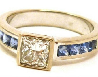 Princess Cut Diamond & Sapphires Engagement Ring SALE, 18 K White Gold, 0.58 ct Diamond, G-H, Val Cert 5,150, Anniversary Ring, LAYAWAYS,