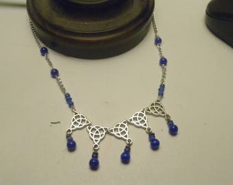 Celtic Triquetra Necklace and Earring Set - Cobalt Blue Cats Eye