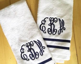 Monogram Terry Cloth Hand Towel with Ribbon Trim / Guest Towel
